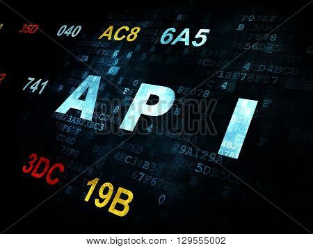 Software concept: Pixelated blue text Api on Digital wall background with Hexadecimal Code