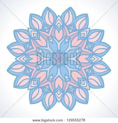Mandala. Vector ornament  in trendy Pantone colors Rose Quartz and Serenity.
