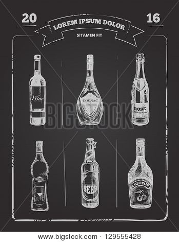Drinks menu on chalkboard in hand drawn style. Alcohol drink menu, design alcohol on blackboard drawing, alcohol vector illustration