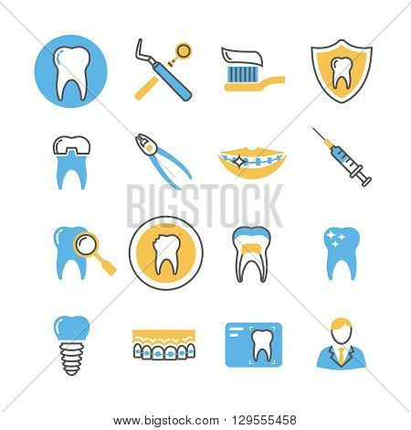 Dental care, services, equipment and products linear vector icons with color elements. Stomatology dental icon, care dental, equipment dental illustration