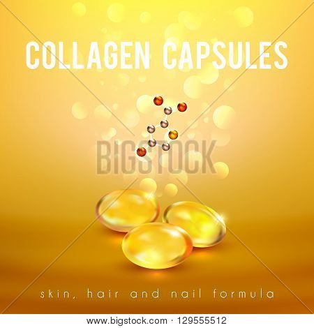 Collagen capsules for strong long hair and nails supplement formula advertisement golden background poster abstract vector illustration