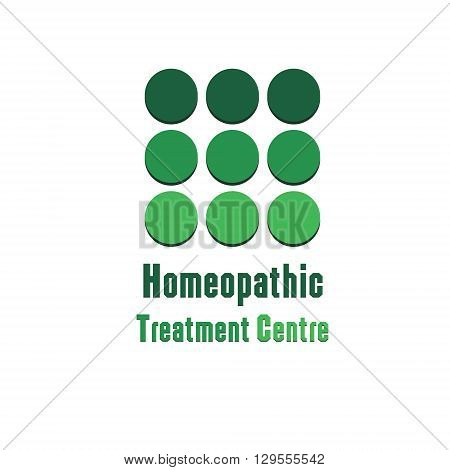 Illustration therapeutic homeopathic center Logo therapeutic homeopathic center green logo on a white background isolated for decoration and design