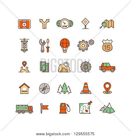 Location and travelling flat vector icons. Adventure car road icon,  traffic car suv, drive car route illustration