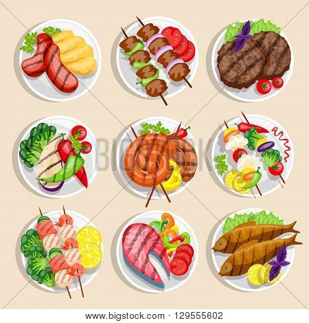 Grilled food set fish and meat dishes with vegetables on the plate vector illustration