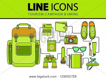 Stock vector line icons set with flat design elements of clothing and footwear for hiking travel and vacation.