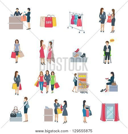 Set of color flat icons depicting woman shopping selection clothes shoes bag in store vector illustration