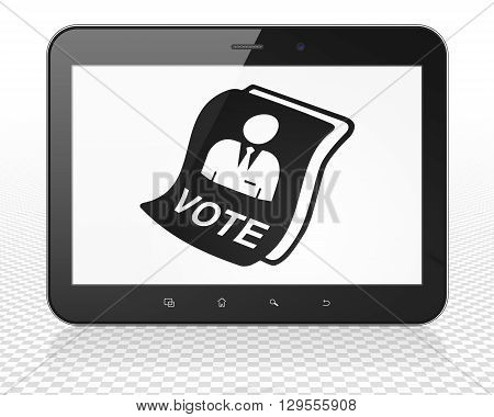 Political concept: Tablet Pc Computer with black Ballot icon on display, 3D rendering