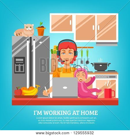 Housewife design concept at kitchen interior with woman sitting at desk with computer and baby in lap flat vector illustration