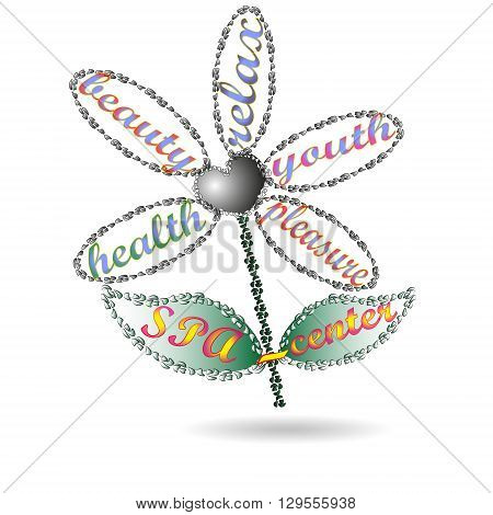 Illustration flower spa center Drawing flower with petals leaves SPA center on a white background for decoration and design