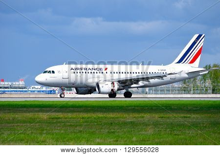 SAINT PETERSBURG RUSSIA - MAY 11 2016. Air France Airbus A319 aircraft -registration number F-GRHK- rides on the runway after landing in Pulkovo International airport