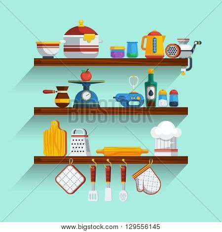 Kitchen Shelves Set. Kitchen Shelves Vector Illustration. Cooking Flat Symbols. Kitchen Shelves Design Set. Cooking Elements Collection.