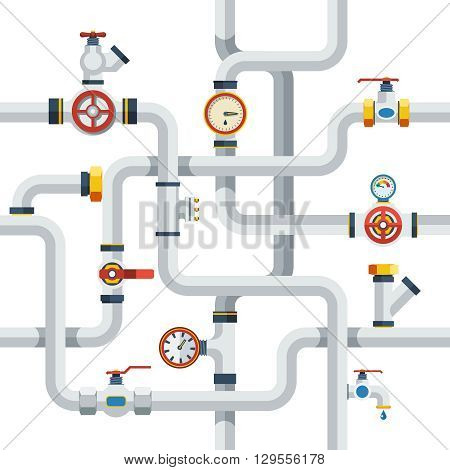 Pipes System Concept. Pipes Vector Illustration.Pipes Flat Symbols. Pipes Design Set. Pipes System Decorative Elements.