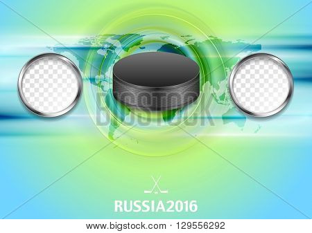 Bright abstract hockey background with black puck with metallic frames for tournament members flag. Vector graphic winter sport design