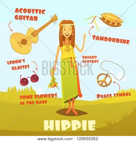 Hippie character cartoon set with acoustic guitar and tambourine vector illustration