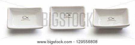 Three views of isolated white rectangular gravy boat on the white background