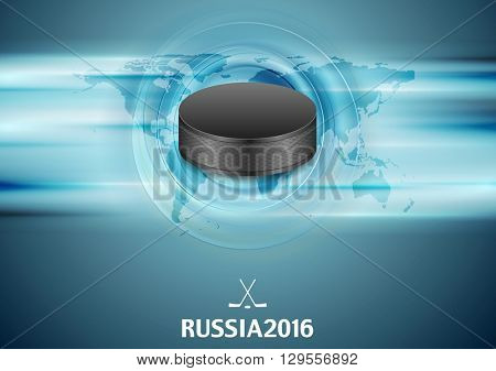Blue abstract hockey background with black puck. Vector graphic winter sport design
