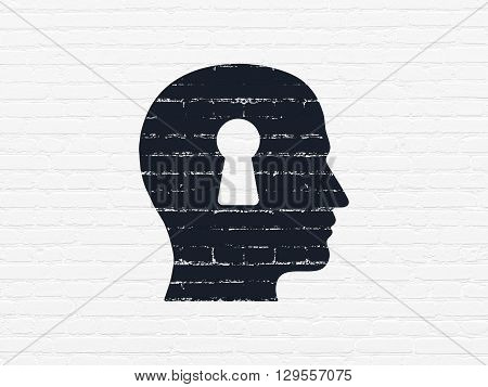Education concept: Painted black Head With Keyhole icon on White Brick wall background
