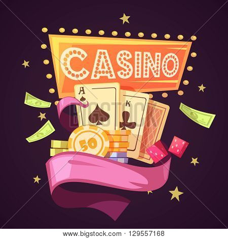 Sparkling casino with cards chips money dice and pink ribbon on purple background flat retro cartoon vector illustration