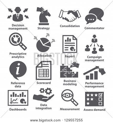 Business management icons on white. Pack 18.