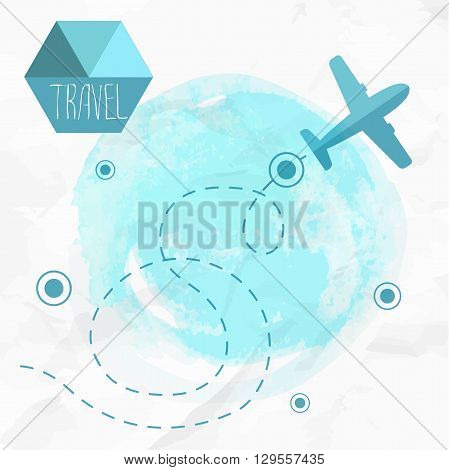 Travel by plane. Airplane on his destination route. Watercolor blue background and flat style airplane.