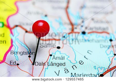 Dals Langed pinned on a map of Sweden