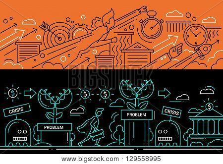 Illustration of vector modern line flat design business composition and infographics elements with super hero businessman, business challenge. Website banners, headers set