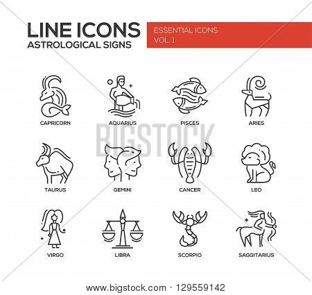 Set of modern vector plain line design icons and pictograms of 12 zodiac signs. Capricorn, aquarius, pisces, aries, taurus, gemini, cancer, leo, saggitarius, virgo