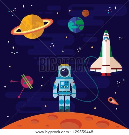 Vector flat space elements with spaceship and planets.