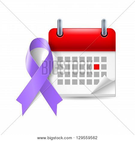 Violet awareness ribbon and calendar with marked day. Symbol of Hodgkin Disease