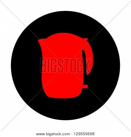 Electric kettle icon. Red vector icon on black flat circle.