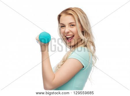 fitness, sport, exercising and people concept - smiling beautiful sporty woman with dumbbell
