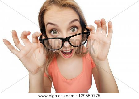 vision, education and people concept - happy smiling young woman or teenage girl eyeglasses