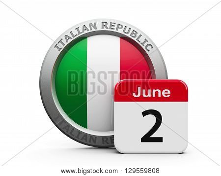 Emblem of Italy with calendar button - The Second of June - represents the Italian Republic Day three-dimensional rendering 3D illustration