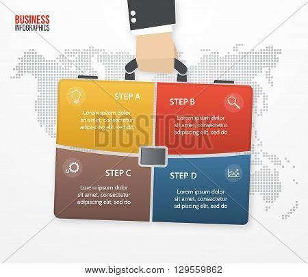 Vector infographic with businessman holding bag briefcase. Business and travel concept with 4 processes options parts steps for graphs charts diagrams presentation website layout.