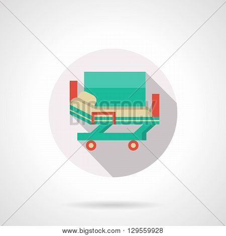 Green hospital stretcher bed on rollers, long shadow. Medical service, emergency transportation of patient on hospital. Round flat color vector icon. Web design element for site, mobile and business.