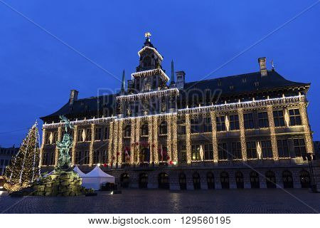Grote Markt with City Hall in Antwerp in Belgium during Christmas