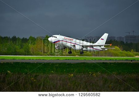 SAINT PETERSBURG RUSSIA - MAY 11 2016. Rossiya Airbus A319 airplane -registration number VP-BIT- is ready for taking off from the runway of Pulkovo International airport