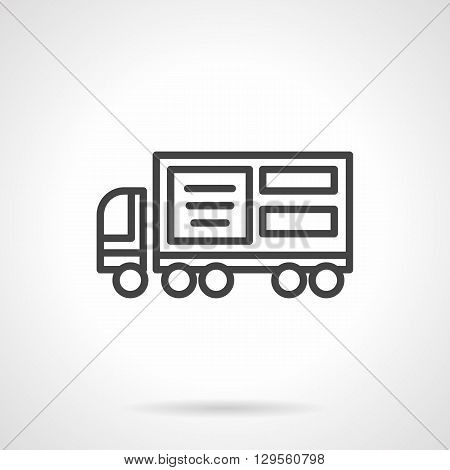 Truck with advertising element. Ad placement on vehicles, advertising agencies. Promotion and marketing. Simple black line vector icon. Single element for web design, mobile app.