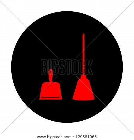 Dustpan vector icon. Scoop for cleaning garbage housework dustpan equipment. Red vector icon on black flat circle.