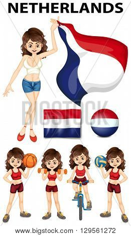 Netherlands woman doing sports illustration