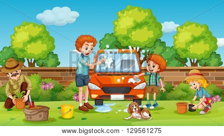 Father and son cleaning car in the yard illustration