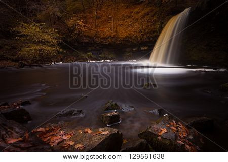 Sgwd Gwladus waterfall on the river Afon Pyrddin near Pontneddfechan, South Wales, known as Waterfall Country
