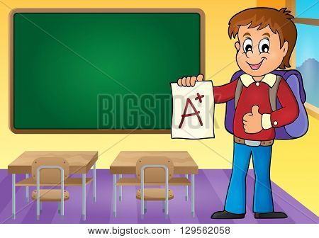 School boy with A plus grade theme 3 - eps10 vector illustration.