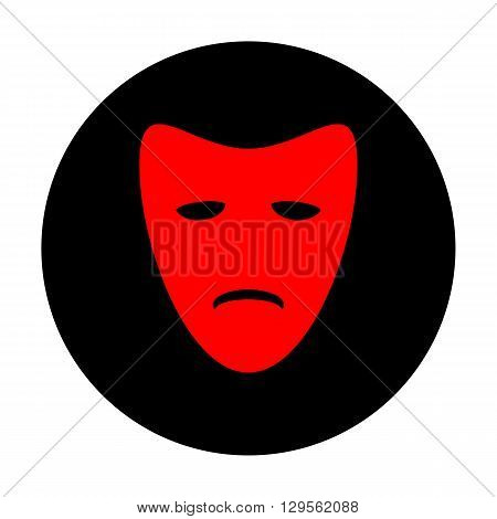 Tragedy theatrical masks. Red vector icon on black flat circle.