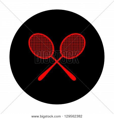 Tennis racquets icon. Red vector icon on black flat circle.