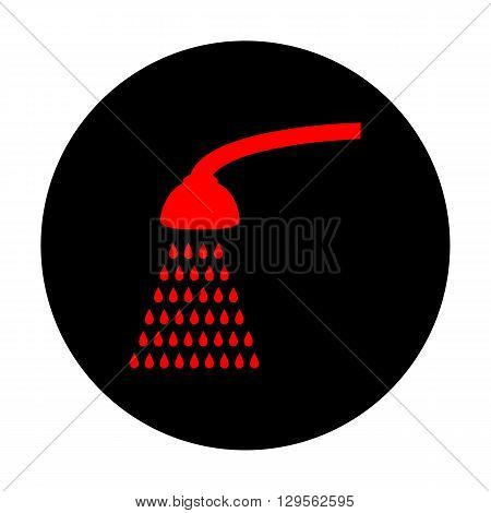 Shower simple icon. Red vector icon on black flat circle.