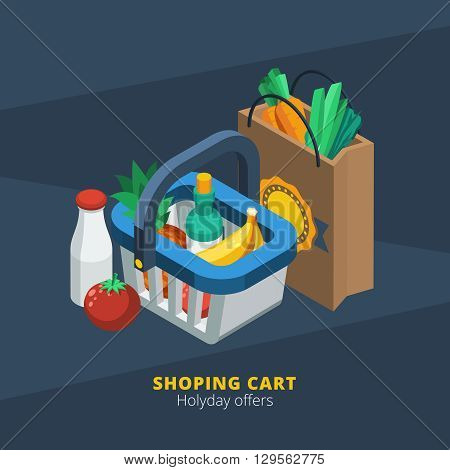 Isometric supermarket icon with shopping basket paper pack and food  vector illustration