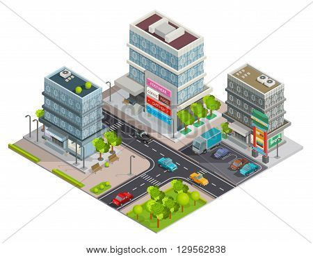 City shopping center in business district area street view with buildings complex and parking isometric vector illustration