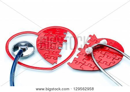Heart Disease, Split Heart-shaped Puzzle With Stethoscope