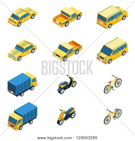 Transport Isometric Set. Transport Vector Illustration. Transport Isolated Elements.Transport Icons Set. Transport Means Collection.